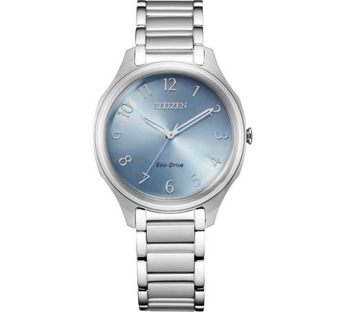 Citizen Eco Drive Women Drive Blue Dial Stainless-Steel Bracelet Watch EM0750-50L