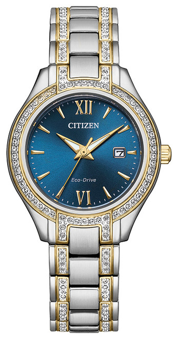 Citizen Eco Drive Women's Silhouette Crystal, Two-Tone Stainless Steel Case & Bracelet, Blue Dial, Watch FE1234-50L