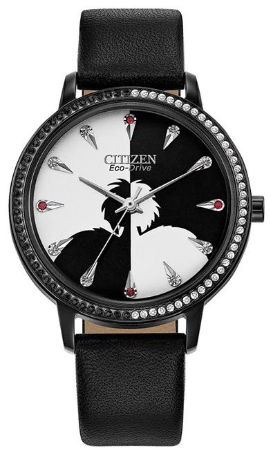 Citizen Eco Drive Women's Disney Cruella De Vil Crystal, Black Case, Black/White Dial, Leather Strap, Watch FE7045-09W