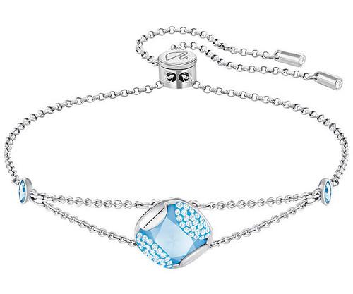 Swarovski Crystal Heap Cushion Bracelet, Blue, Rhodium Plating 5290140
