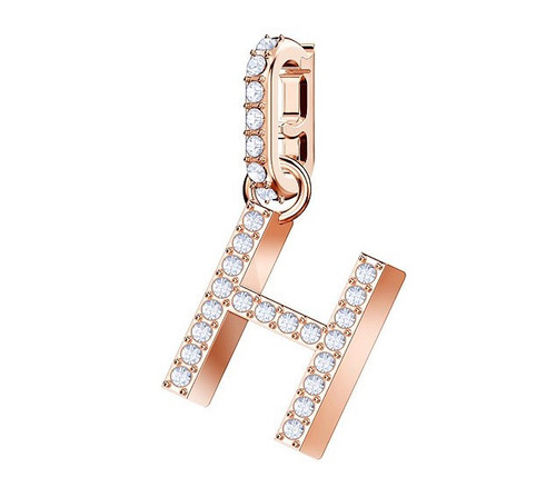 Swarovski Crystal Remix Collection Charm Letter H, Rose Gold Plating 5437622