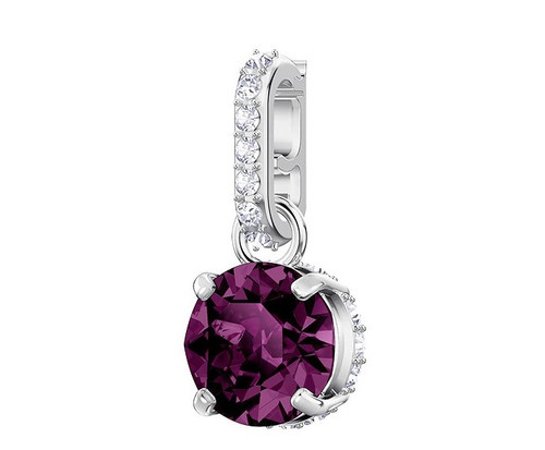 Swarovski Crystal Remix Collection Charm, February Purple Rhodium Plated 5437323