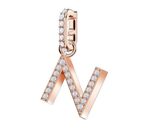 Swarovski Crystal Remix Collection Charm Letter N, Rose Gold Plating 5437623