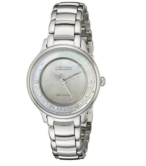 Citizen Eco Drive Women's Circle of Time Diamond Silver Tone Watch EM0380-81N