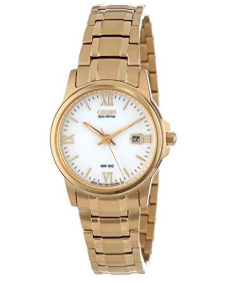 Citizen Eco Drive Women's Gold Tone Stainless Steel Watch EW1912-51A