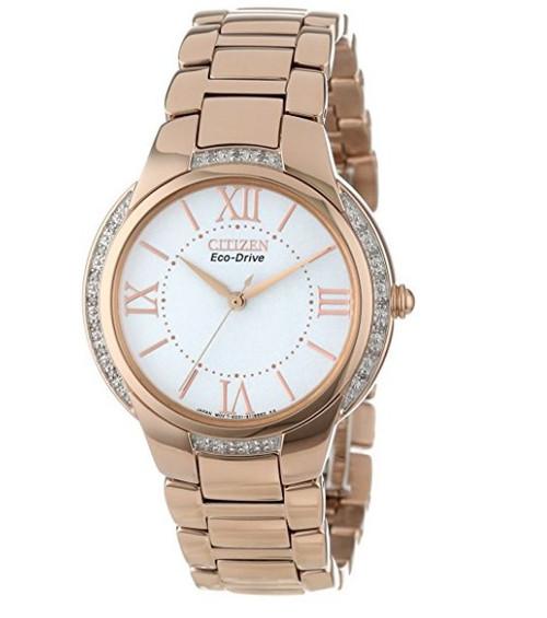 Citizen Eco Drive Women's Ciena Diamond Rose Gold Bracelet Watch EM0093-59A