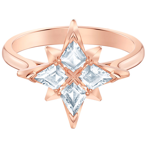 Swarovski Crystal Symbolic Star Motif Ring White Rose-Gold 5494346 (Size 7/M/55)