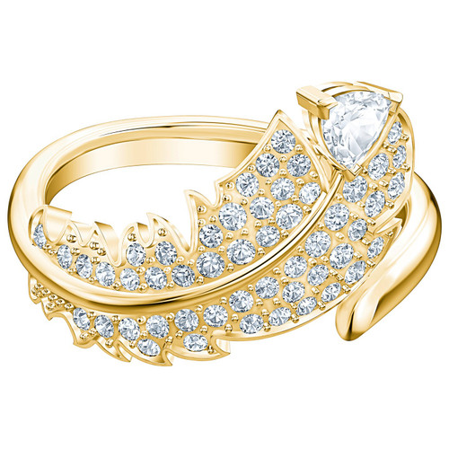 Swarovski Crystal Nice Motif Ring, White, Gold-Tone Plated 5515384 (Size 7/M/55)