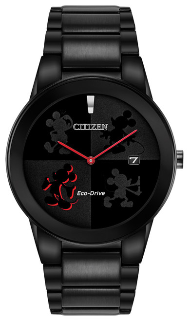 Citizen Eco Drive Men's Mickey Mouse Black Ion Plated Watch AU1069-57W