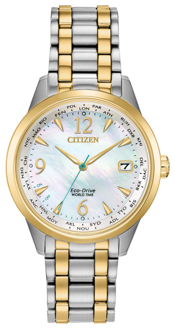 Citizen Eco Drive Women's World Time Mother Of Pearl Dial Watch FC8004-54D