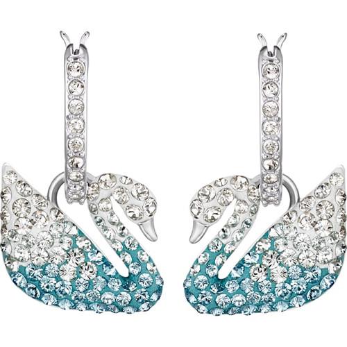Swarovski Crystal Iconic Swan Pierced Earrings, Blue, Rhodium Plated 5512577
