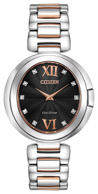 Citizen Eco Drive Women's Capella Pink Gold Two-Tone Stainless Steel Watch EX1516-52E