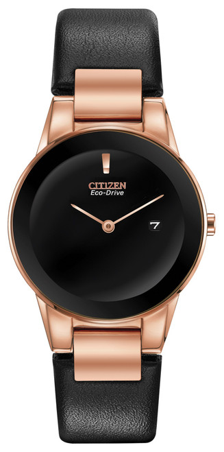 Citizen Eco Drive Women's Axiom Rose Gold-Tone Stainless Steel Watch w/ Leather Strap GA1058-16E