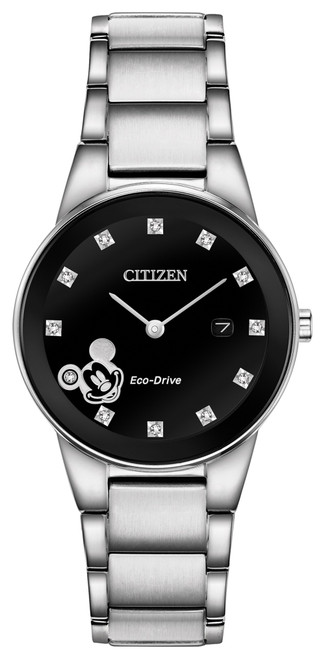 Citizen Eco Drive Women's Mickey Mouse Stainless Steel Diamond Watch GA1051-58W front