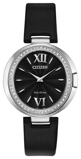 Citizen Eco Drive Women's Capella Diamond Stainless Steel Case w/ Leather Strap Watch EX1500-01E
