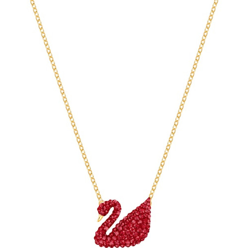 Swarovski Crystal Iconic Swan Pendant, Red, Gold-Tone Plated 5465400