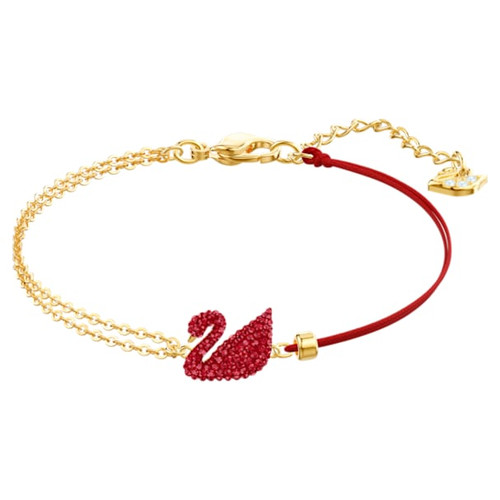 Swarovski Crystal Iconic Swan Bracelet, Red, Gold-Tone Plated 5465403