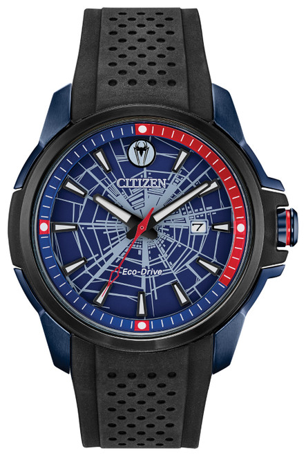 Citizen Eco Drive Spider-Man Black Ion-Plated Stainless Steel Watch AW1156-01W