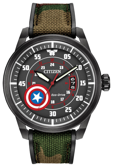 Citizen Eco Drive Man's Captain America Camoflouge Strap Watch AW1367-05W