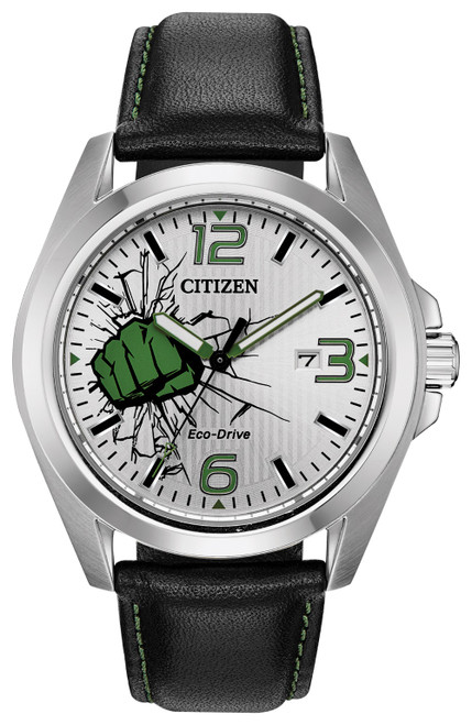 Citizen Eco Drive Men's The Hulk Black Leather Strap Watch AW1431-24W