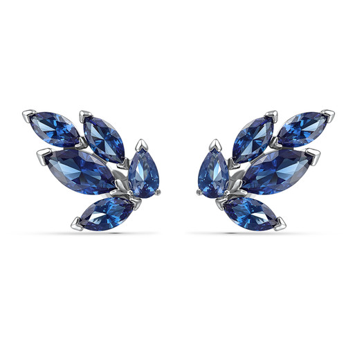 Swarovski Crystal 125th Anniversary Louison Stud Pierced Earrings, Blue, Rhodium Plated 5536549