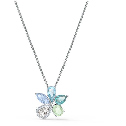 Swarovski Crystal Sunny Necklace, Light Multi-Colored, Rhodium Plated 5518414