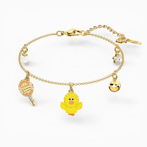 Swarovski Crystal Line Friends Collection Tennis Bracelet, Light Multi-Colored, Gold-Tone Plated 5514516 (Size M)