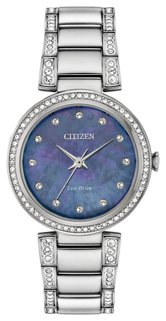 Citizen Eco Drive Women's Silhouette Crystal Mother-Of-Pearl Dial Watch EM0840-59N