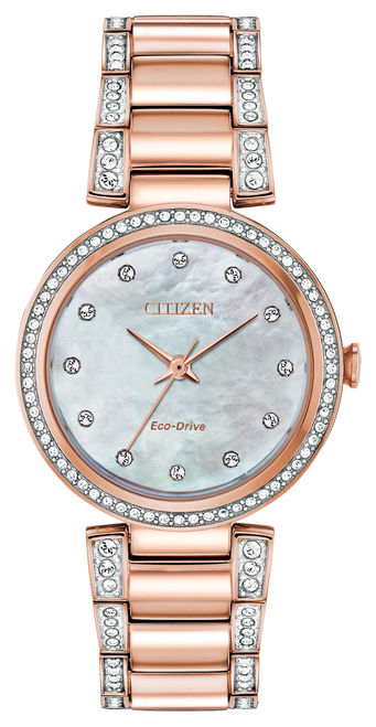 Citizen Eco Drive Women's Silhouette Crystal Pink Gold Stainless Steel Bracelet Watch EM0843-51D