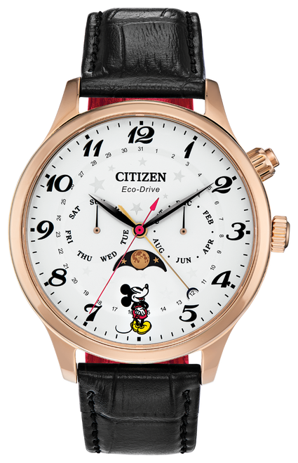 Citizen Eco Drive Men's Mickey Mouse Rose Gold Tone Stainless Steel Leather Strap Watch AP1053-15W
