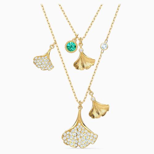 Swarovski Crystal Stunning Ginko Layered Necklace, Green, Gold-Tone 5527079