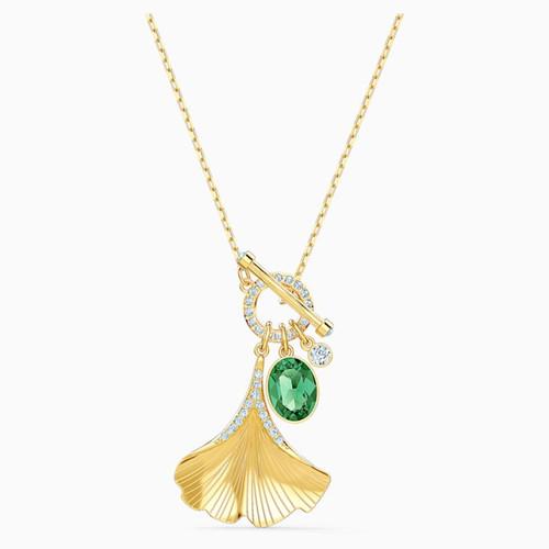 Swarovski Crystal Stunning Ginko Necklace, Green, Gold-Tone Plated 5515465