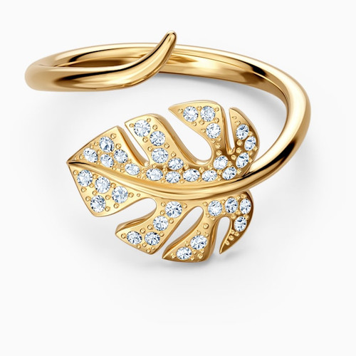 Swarovski Crystal Tropical Leaf Open Ring Gold-Tone Plated 5519257 (Size 7/M 55)
