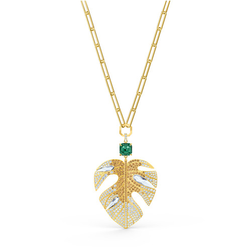 Swarovski Crystal Tropical Leaf Pendant, Light Multi-Colored, Gold-Tone Plated 5512695