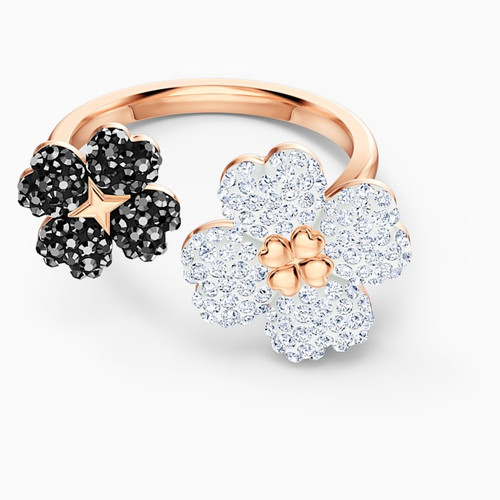 Swarovski Crystal Latisha Ring, Black, Rose-Gold Tone Plated 5520947 (Size 55 / M / 7)