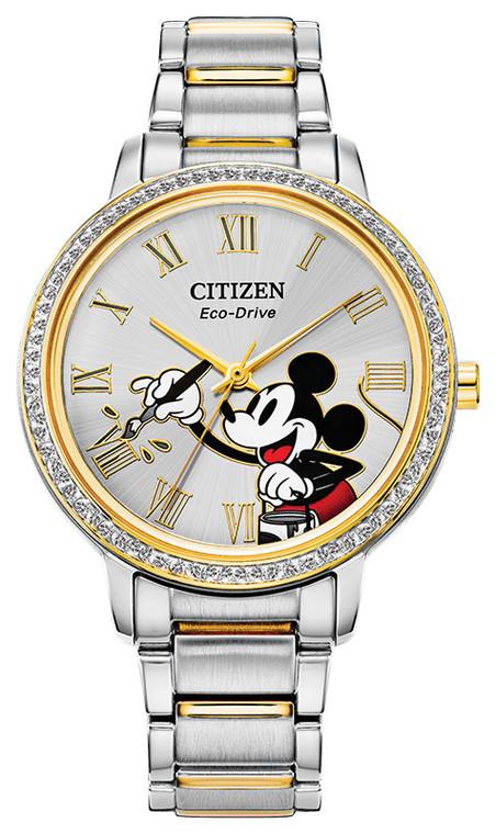 Citizen Eco Drive Women's Disney Mickey Crystal, Two-Tone, Stainless Steel Case & Bracelet, Silver Dial, Watch FE7044-52W