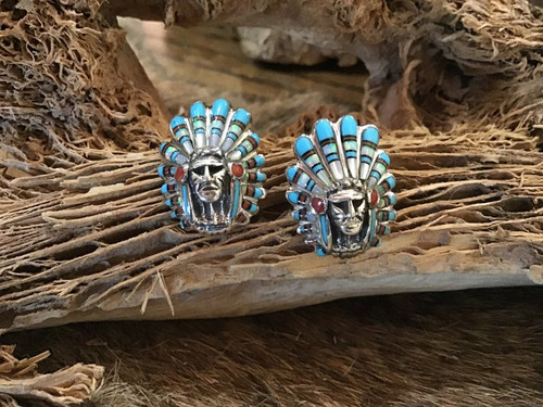 Authentic Indian Chief Navajo Earrings