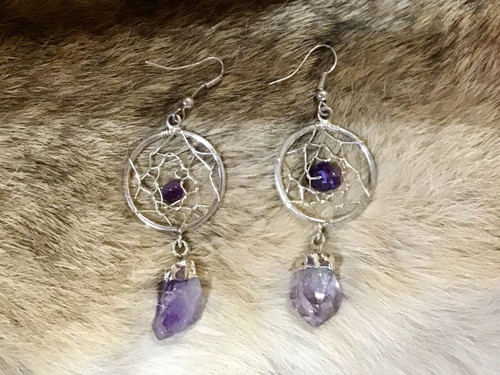 Authentic Native American Amethyst Sun catcher earrings