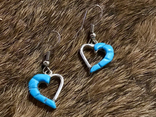 Authentic Native American Turquoise Heart Earrings Wire