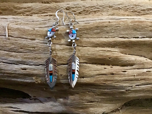 Authentic Native American Turtle Feather Earrings