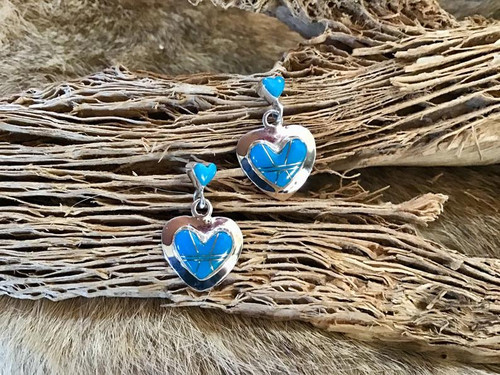 Authentic Native American Navajo/Zuni/Hopi Heart Earrings