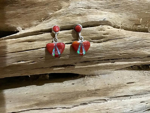Authentic Native America Indian Red Coral, Fire Opal Heart Earrings