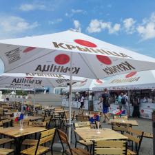 Branded patio umbrella