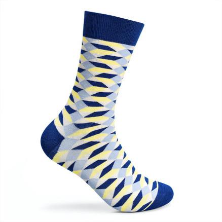 Julius Marlow Box Sock Navy/Yellow
