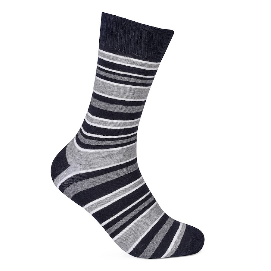 Julius Marlow Stripe Sock Grey/Dark Navy