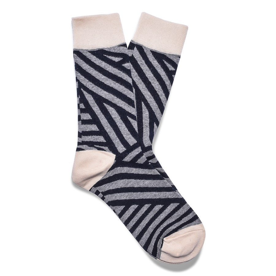 Julius Marlow Stroke Sock Grey/Dark Navy
