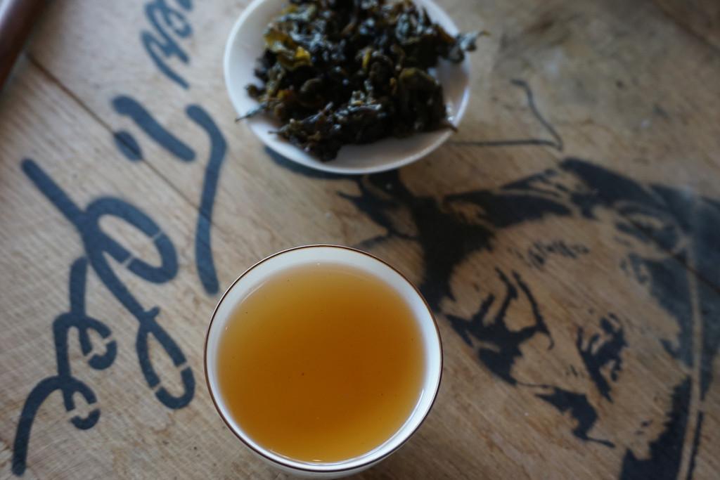 Steeped bourbon barrel oolong tea