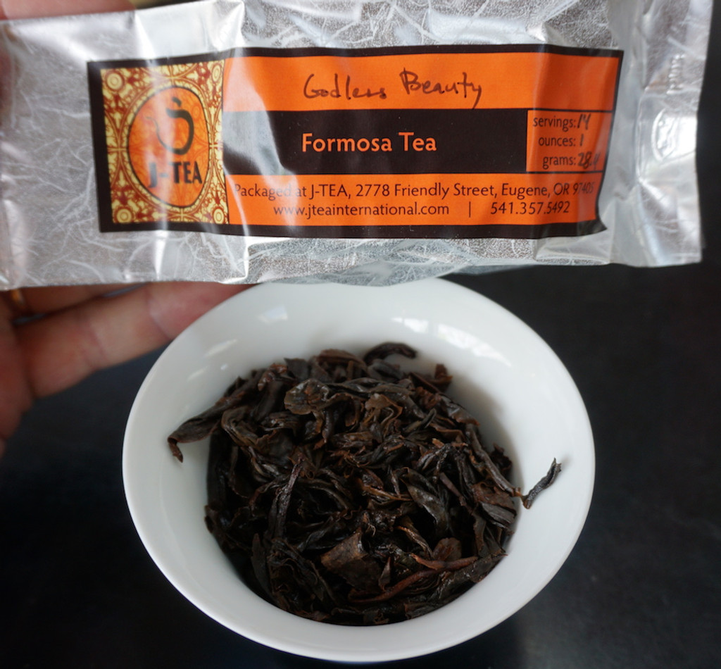 Godless Beauty oolong tea brewed leaf packaged tea