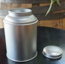 tea tin round stackable holds 1/4 to 1/2 lb. of tea inner lid