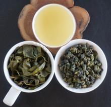 Taiwan Ah Li Shan Oolong tea leaf, soup, brewed leaf